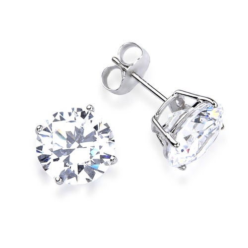 Shop 14k Solid White Gold Round Super Bright Cz Stud Earrings Free