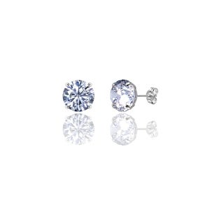 14k Solid White Gold Round Super-bright CZ Stud Earrings