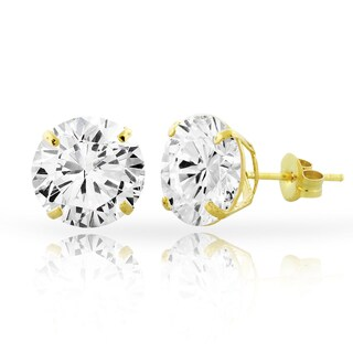 Cubic Zirconia Gold Round Stud Earrings