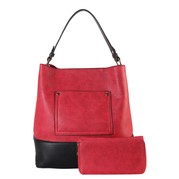3a6a8fa13ec9 Shop Diophy Faux Leather Front Pocket Two Tone Hobo Handbag with ...