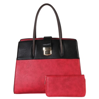 Diophy Faux Leather Push-lock Two-tone Tote Bag with Wallet