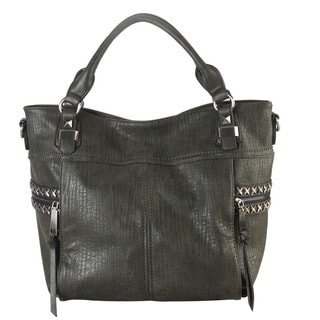 Diophy Faux Leather Studded Zippered Pocket Tote Bag