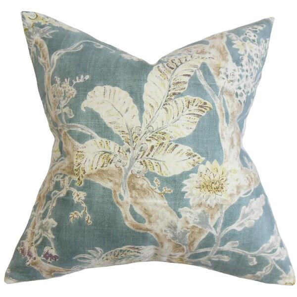Satriya Floral Euro Sham Blue
