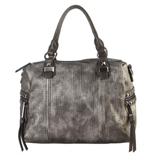 Diophy Faux-leather Studded Decor and Zippered Pocket Tote Bag
