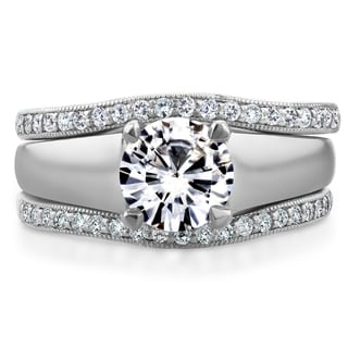 Link to Annello by Kobelli 14k White Gold Round Cut Moissanite Solitaire and 1/3ct TDW Diamond Bands 3-Piece Similar Items in Rings