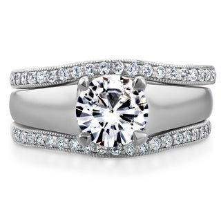 Annello by Kobelli 14k White Gold Round Cut Moissanite Solitaire and 1/3ct TDW Diamond Bands 3-Piece