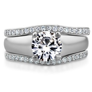 Annello by Kobelli 14k White Gold Round Cut Moissanite (HI) Solitaire and 1/3ct TDW Diamond Bands 3-Piece