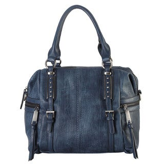 Diophy Faux Leather 2-buckle Studded Tote Bag
