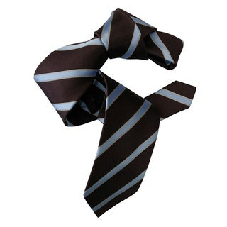 Dmitry Men's Chocolate Brown Italian Silk Striped Neck Tie