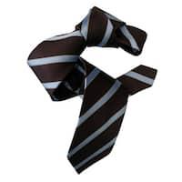 Dmitry Men's Chocolate Brown Italian Silk Striped Neck Tie