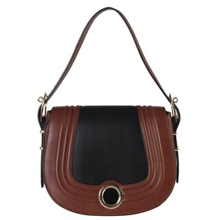 Diophy Gold Metal Circle Decor Two-tone Shoulder Saddle Handbag