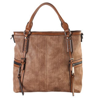 Diophy Coffee/Wine Faux Leather Zippered Pockets Tote Bag