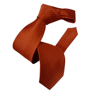 Dmitry Men's Italian Orange Patterned Silk Tie
