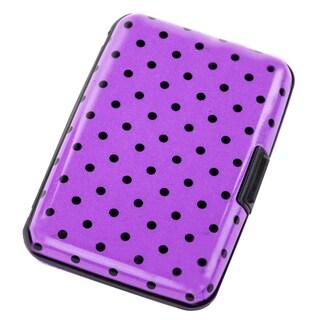 Aluma Pink Metal Polka Dot RFID-blocking Hard Case Wallet
