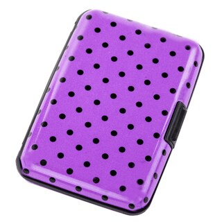 Aluma Pink Metal Polka Dot RFID-blocking Hard Case Wallet