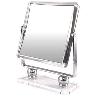 Square Metal Stand with Glass Base Mirror