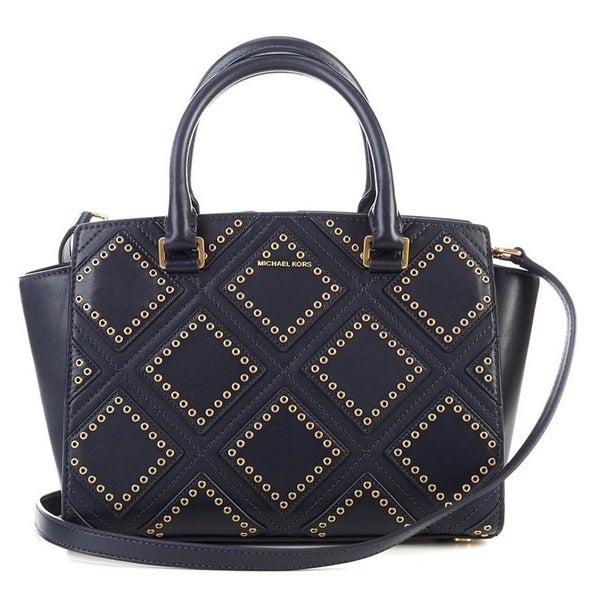 ad02cf03b44c2 ... cheapest michael kors selma medium admiral blue diamond grommet leather  satchel handbag 8eb99 23e50