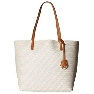 Michael Kors Hayley Vanilla/ Acorn Large Logo Tote Bag