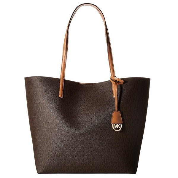 8b488f90c6b7 Shop Michael Kors Hayley Brown/ Peanut Large Logo Tote Bag - Free ...
