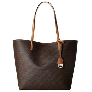 Michael Kors Hayley Brown/ Peanut Large Logo Tote Bag