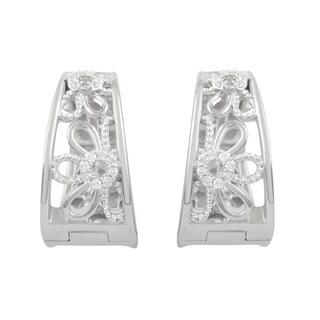 Sterling Silver Diamond Accent Flower Hoop Earrings (H-I, I2-I3)