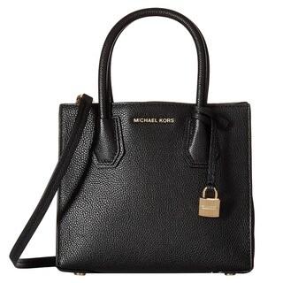Michael Kors Bonded Mercer Black Pebble Medium Crossbody Handbag