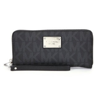 Michael Kors Jet Set Travel Black Signature Continental Wallet