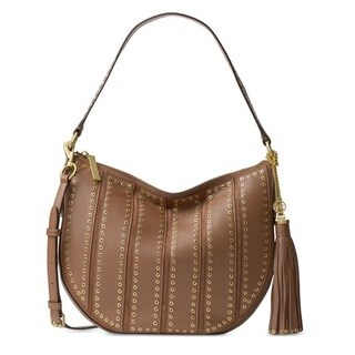 Michael Kors Suede Medium Dark Caramel Convertible Hobo Handbag