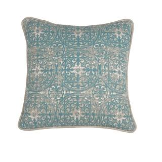 Kosas Home Laurent Pacific Blue/Tan Cotton 18 x 18 Throw Pillow
