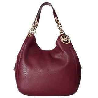 Michael Kors Fulton Large Plum Leather Shoulder Handbag