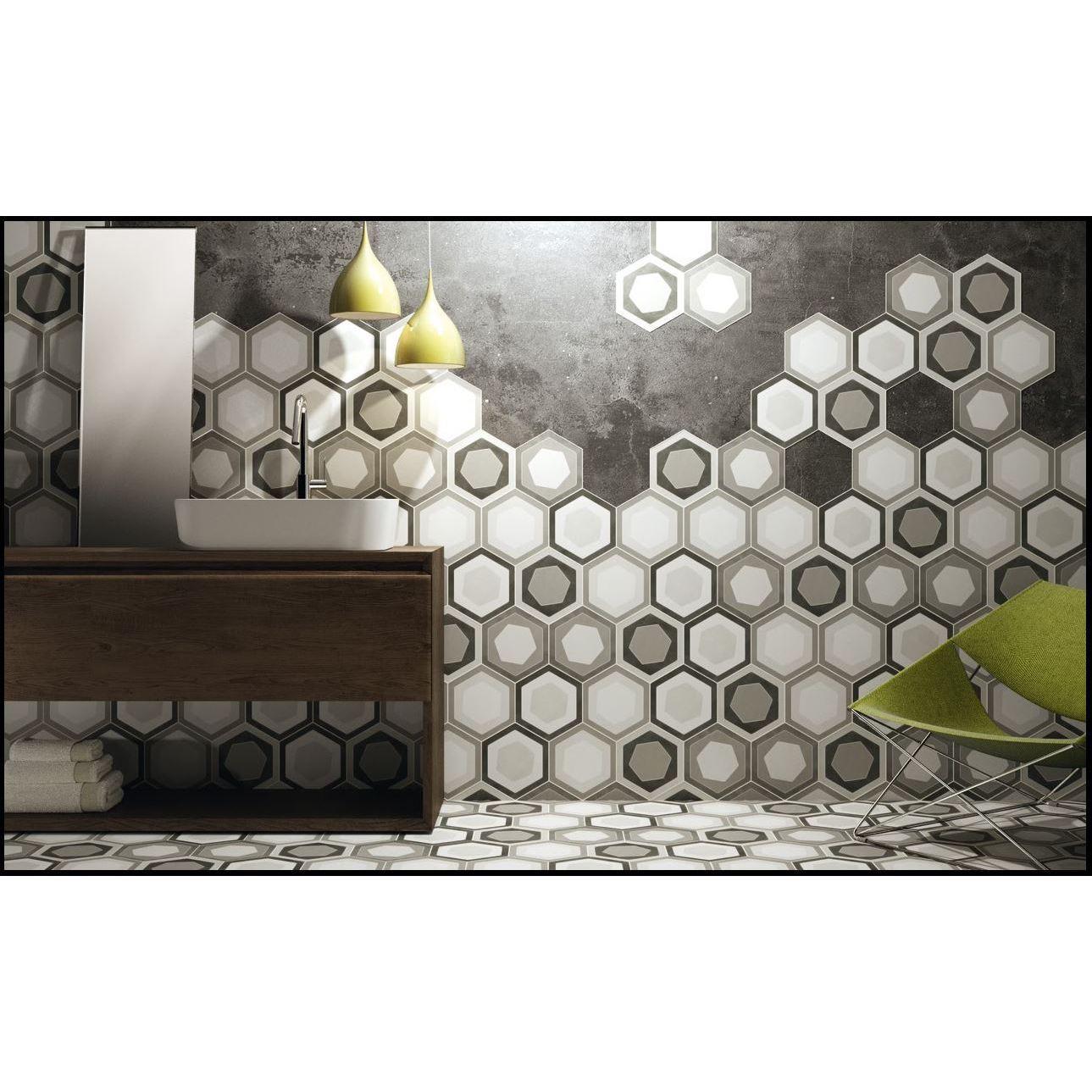 Black Label 9x8 Hexa Gris Porcelain Floor and Wall Tile (...