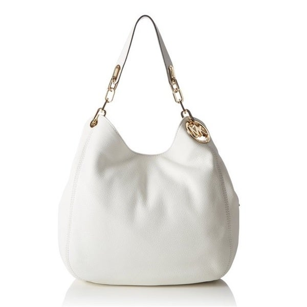 d6a5adab4042 Shop Michael Kors Fulton Large Optic White Leather Shoulder Handbag ...