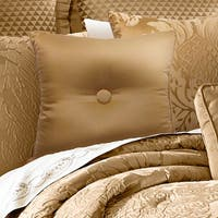 Five Queens Court Colonial Gold Button Tufted 16-inch Decorative Pillow