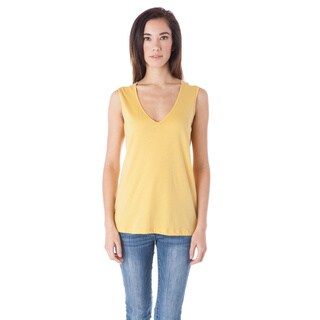 AtoZ Women's V-neck Wide Shoulder Strap Top
