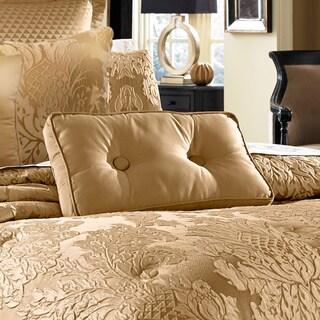 Five Queens Court Colonial Gold Button Tufted Boudoir Decorative Pillow