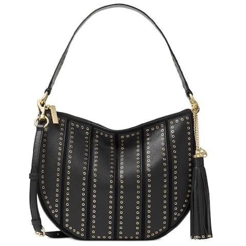 e8cb408e9353d9 Michael Kors Brooklyn Grommet Black Appliqué Medium Convertible Hobo Handbag
