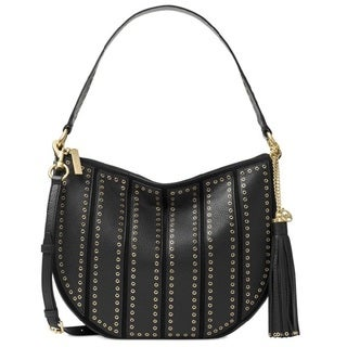 Michael Kors Brooklyn Grommet Black Appliqué Medium Convertible Hobo Handbag