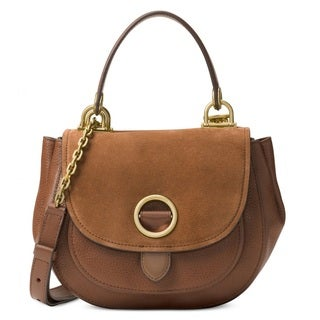 Michael Kors Isadore Dark Caramel Medium Suede Satchel Handbag