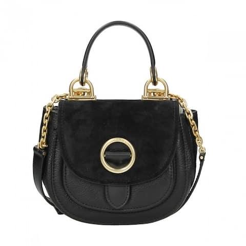 Michael Kors Isadore Black Medium Suede Saddle Handbag