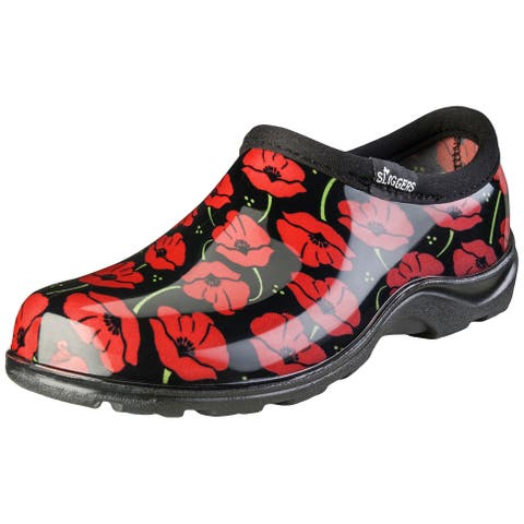 Sloggers Red Poppies Women's Rain and Garden Shoe Size 7 Red/Black