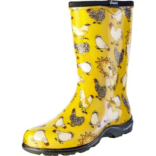 Sloggers 5016CDY07 Women's Chicken Print Daffodil YL Rain/Garden Boot