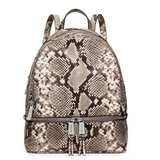 Michael Kors Rhea Natural/ Snake Print Zip Medium Backpack