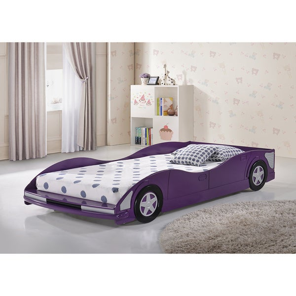 Shop Donco Kids Twin Size Race Car Bed In Purple Finish On Sale
