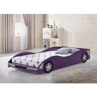 Donco Kids Twin Size Race Car Bed in Purple Finish
