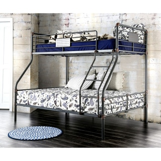 Furniture of America Herman Industrial Antique Black Twin over Full Bunk Bed