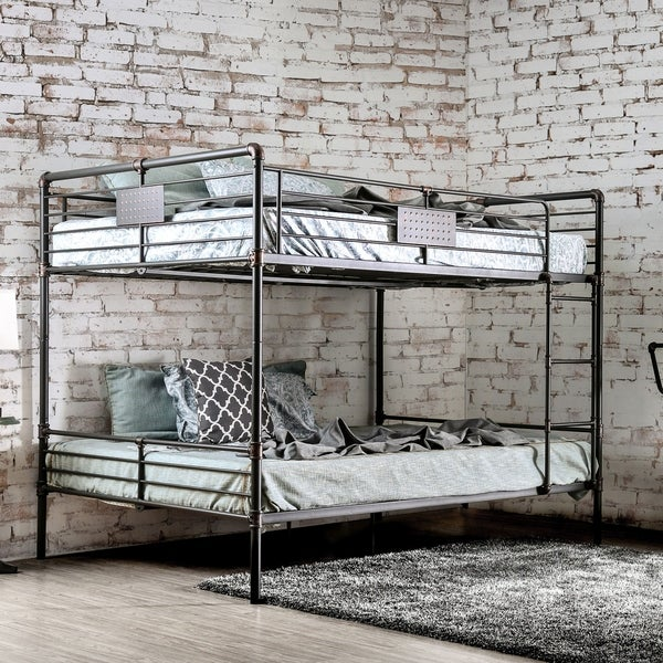 Furniture of America Herman Antique Black Metal Queen-over-queen Industrial  Bunk Bed - Shop Furniture Of America Herman Antique Black Metal Queen-over