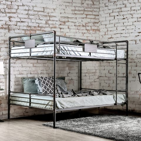 Furniture of America Wini Industrial Black Queen over Queen Bunk Bed