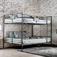 Furniture of America Herman Antique Black Metal Queen-over-queen Industrial Bunk Bed