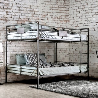 Furniture of America Herman Antique Black Metal Queen-over-queen Industrial Bunk Bed