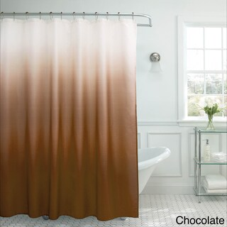 Creative Home Ideas Ombre Waffle Weave Shower Curtain w/ 12 Color Coordinating Metal Rings (Option: CHOCOLATE)
